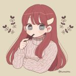 1girl aran_sweater barrette blue_eyes bright_pupils cropped_torso crossed_arms eating food highres holding holding_food long_hair long_sleeves nokanok original pocky redhead sidelocks solo sweater symbol_commentary twitter_username upper_body white_pupils