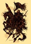 1other abysmal_knight armor artist_name baroquegothik black_cape cape demon english_commentary extra_eyes flag flagpole full_body helmet holding holding_polearm holding_sword holding_weapon horse horseback_riding lance monster polearm ragnarok_online red_eyes riding simple_background sword weapon yellow_background