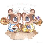 2boys animal_crossing apron blue_apron brewster_(animal_crossing) brothers cake cake_slice candy chef_hat chef_uniform cherry coffee copyright_name dom_(animal_crossing) eloise_(animal_crossing) food fork fruit grey_background hat holding isabelle_(animal_crossing) jacket looking_at_viewer multiple_boys neckerchief plate rover_(animal_crossing) ryota_(ry_o_ta) siblings simple_background timmy_(animal_crossing) tommy_(animal_crossing) twins white_jacket wooden_floor yellow_apron