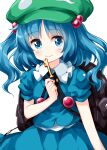 1girl backpack bag bangs blue_eyes blue_hair blue_skirt closed_mouth eyebrows_visible_through_hair flat_cap green_headwear hair_bobbles hair_ornament hat highres holding holding_key kawashiro_nitori key looking_at_viewer medium_hair pocket ruu_(tksymkw) shirt short_sleeves simple_background skirt skirt_set smile solo standing touhou twintails two_side_up white_background white_shirt