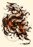 artist_name baroquegothik darkness demon english_commentary evil_snake_lord extra_ears extra_eyes extra_teeth full_body jar monster no_humans ofuda paintbrush ragnarok_online scroll simple_background snake teeth tongue white_background white_snake