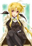 1girl belt black_jacket black_legwear black_skirt blonde_hair closed_mouth coat coat_on_shoulders commentary dated dress_shirt eyebrows_visible_through_hair fate_testarossa hair_ribbon highres jacket long_hair long_sleeves looking_at_viewer lyrical_nanoha mahou_shoujo_lyrical_nanoha_strikers medium_skirt military military_uniform neck_ribbon pantyhose pencil_skirt ponytail red_eyes ribbon san-pon shirt sidelocks sitting skirt smile solo sparkle trench_coat tsab_executive_military_uniform twitter_username uniform very_long_hair white_belt white_coat white_shirt yellow_neckwear