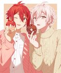 2boys ;p absurdres aran_sweater border buttons cardigan character_name collared_shirt doughnut food highres holding holding_food idolish_7 kujou_tenn long_sleeves looking_at_viewer male_focus multiple_boys nanase_riku one_eye_closed open_mouth outline pink_cardigan pink_eyes pink_hair polka_dot polka_dot_background red_eyes redhead shirt short_hair sweater tongue tongue_out unapoppo upper_body white_border white_outline white_shirt