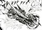 2boys absurdres black_sclera cyclops dodododo greyscale ground_vehicle highres jumping kudou_kishi monochrome motion_blur motor_vehicle motorcycle multiple_boys murata_yuusuke numbered nyan_(one_punch_man) official_art one-eyed one-punch_man scan traditional_media