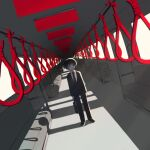 1boy avogado6 black_eyes business_suit collared_shirt colored_skin dutch_angle formal holding holding_suitcase jacket jitome looking_at_viewer male_focus monochrome necktie noose original pants red_theme shirt shoes short_hair solo streetcar_interior suit suitcase symbolism white_skin wing_collar