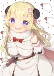 1girl :d animal_ears arms_behind_back bangs bare_shoulders blonde_hair blush breasts curled_horns dress eyebrows_visible_through_hair fur-trimmed_dress fur_trim hair_ornament hairclip heart highres hololive horns leaning_forward long_hair looking_at_viewer medium_breasts muku_(muku-coffee) open_mouth sheep_ears sheep_horns simple_background smile solo tsunomaki_watame very_long_hair violet_eyes virtual_youtuber white_background white_dress