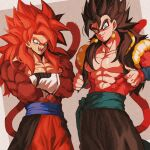 cosplay costume_switch dragon_ball dragon_ball_heroes earrings fusion fusion_dance gloves gogeta gogeta_(cosplay) gogeta_(xeno) highres jewelry male_focus metamoran_vest monkey_boy monkey_tail muscle pants potara_earrings red_fur red_pants redhead relio_db318 spiky_hair super_saiyan super_saiyan_4 tail vegetto vegetto_(cosplay) vegetto_(xeno) white_footwear white_gloves