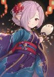 1girl blue_kimono blurry blurry_background blush commentary_request depth_of_field fan granblue_fantasy hair_over_one_eye harvin highres holding holding_fan japanese_clothes kimono long_sleeves looking_at_viewer nio_(granblue_fantasy) obi paper_fan pink_hair pointy_ears purple_kimono red_eyes sash solo uchiwa uneg wide_sleeves yukata