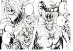 absurdres character_request clenched_hand closed_mouth crown cyclops deep_sea_king_(one-punch_man) giant_snowman_(one-punch_man) greyscale grin groribas head_fins highres looking_at_viewer lord_boros melzalgald messenger_of_the_sea_god monochrome monster murata_yuusuke numbered octopus official_art one-eyed one-punch_man scan smile tentacles traditional_media