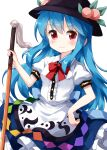 1girl bangs black_headwear blue_hair blue_skirt bow bowtie buttons center_frills closed_mouth cowboy_shot eyebrows_visible_through_hair food frilled_skirt frills fruit highres hinanawi_tenshi holding holding_sword holding_weapon leaf long_hair looking_at_viewer peach puffy_short_sleeves puffy_sleeves rainbow_order red_bow red_eyes red_neckwear ruu_(tksymkw) shirt short_sleeves simple_background skirt smile solo standing sword sword_of_hisou touhou v-shaped_eyebrows weapon white_background white_shirt