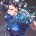 1girl black_hair blush bracelet breasts bun_cover capcom china_dress chinese_clothes chun-li double_bun dress earrings fighting_stance grey_eyes jewelry large_breasts parted_lips short_hair simple_background solo spiked_bracelet spikes street_fighter tama_tsuka