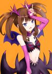 1girl arm_up bangs bare_shoulders black_skirt blue_wings breasts brown_hair collarbone commentary_request eyebrows_visible_through_hair fang gloves highres kurosu_aroma long_hair mini_wings navel okiru open_mouth orange_background partially_fingerless_gloves pink_gloves pretty_(series) pripara simple_background skirt small_breasts solo twintails v-shaped_eyebrows wings