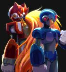 2boys absurdres android back-to-back black_background blonde_hair capcom clenched_hands green_eyes helmet highres hoshi_mikan long_hair male_focus multiple_boys ponytail rockman rockman_x simple_background very_long_hair x_(rockman) zero_(rockman)
