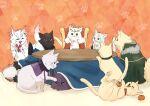 agravain_(fate) animal animalization artoria_pendragon_(all) artoria_pendragon_(lancer) bedivere black_fur cape cat crown fate/grand_order fate_(series) food fruit galahad_(fate) gareth_(fate/grand_order) gawain_(fate/extra) highres kotatsu lancelot_(fate/grand_order) mandarin_orange merlin_(fate) mordred_(fate)_(all) paw_print round_table table tristan_(fate/grand_order) white_fur y_udumi yellow_fur