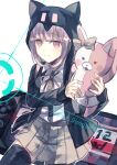 1girl absurdres animal_ears animal_hood backpack bag bangs beige_skirt black_legwear cat_bag cat_hood collared_shirt commentary copyright_name danganronpa dokoda_no_dareka eyebrows_visible_through_hair fake_animal_ears hair_ornament hairclip handheld_game_console highres holding holding_stuffed_toy hood hood_up hoodie looking_at_viewer monomi_(danganronpa) nanami_chiaki neck_ribbon oversized_object pink_eyes pink_hair pink_ribbon playstation_portable ribbon shirt short_hair skirt sleeves_past_wrists smile solo stuffed_animal stuffed_bunny stuffed_toy super_danganronpa_2 thigh-highs white_background white_shirt
