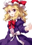 1girl bangs blonde_hair bow bowtie buttons center_frills cowboy_shot dress dress_bow eyebrows_visible_through_hair frills hat hat_bow highres long_sleeves looking_at_viewer maribel_hearn medium_hair mob_cap open_mouth pink_eyes puffy_sleeves purple_dress red_bow red_neckwear ruu_(tksymkw) simple_background smile solo standing touhou wavy_hair white_background white_bow