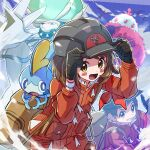 1boy 1girl :d adjusting_clothes adjusting_headwear backpack bag black_gloves blush brown_hair calyrex character_request commentary_request dynamax_band gen_8_pokemon gloria_(pokemon) gloves helmet highres jacket kingin legendary_pokemon long_sleeves looking_at_viewer medium_hair open_mouth pokemon pokemon_(creature) pokemon_(game) pokemon_swsh red_jacket short_hair smile sobble thumbs_up victor_(pokemon) wristband yellow_eyes