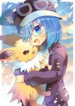1girl ;d absurdres animal_ear_fluff animal_ears bangs blue_eyes blue_hair blurry blurry_background blush brown_eyes brown_headwear brown_jacket commentary_request depth_of_field eyebrows_visible_through_hair eyes_visible_through_hair gen_1_pokemon glasses goggles goggles_on_headwear hair_over_one_eye hat highres hug jacket jolteon kouu_hiyoyo long_hair long_sleeves one_eye_closed open_mouth original pokemon pokemon_(creature) puffy_long_sleeves puffy_sleeves purple-framed_eyewear semi-rimless_eyewear smile under-rim_eyewear upper_body