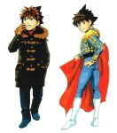 1boy :d blue_pants boots brown_eyes brown_hair bullfighting closed_mouth coat costume eyeshield_21 gloves green_coat hand_in_pocket hand_on_hip hand_up highres holding kobayakawa_sena looking_at_viewer looking_back looking_up male_focus multiple_views murata_yuusuke official_art open_mouth pants scan shoes smile spiky_hair traditional_media winter_clothes winter_coat