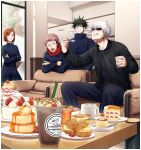 1girl 3boys :d :q ^_^ bangs black_eyes black_hair black_jacket black_pants black_shirt black_skirt brown_hair cake cake_slice chair closed_eyes closed_mouth couch cowboy_shot cream_puff crossed_arms cup dated drinking_straw facial_mark food fushiguro_megumi gakuran gojou_satoru hair_between_eyes happy_birthday high_collar highres holding holding_cup hood hood_down hoodie ice_cream indoors itadori_yuuji jacket jujutsu_kaisen kugisaki_nobara leaning_forward leaning_on_object long_sleeves looking_at_another multiple_boys open_mouth pants parfait parted_bangs pink_hair plate pudding red_hoodie school_uniform shirt short_hair sitting skirt smile spiky_hair standing sunglasses sweatdrop sweets table tongue tongue_out undercut white_hair yo_korasho