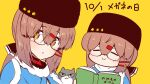 2girls :> :o bangs bespectacled black_headwear blue_shawl blush book brown_eyes brown_hair cat dual_persona glasses glasses_day hair_ornament hairclip hat holding holding_book kantai_collection long_hair low_twintails multiple_girls papakha scarf shawl simple_background smile star_(symbol) tashkent_(kantai_collection) torn_scarf twintails upper_body white_scarf yellow_background yuasa_makoto