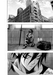 1boy absurdres against_wall armor bag bodysuit bottle building closed_mouth greyscale hair_between_eyes highres katana light_rays male_focus monochrome murata_yuusuke official_art one-punch_man onsoku_no_sonic ruins serious short_hair sitting solo sword traditional_media weapon