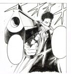 1boy absurdres coat covered_mouth finger_on_trigger foreshortening greyscale gun handgun highres holding holding_gun holding_weapon looking_at_viewer male_focus monochrome murata_yuusuke official_art one-punch_man open_clothes open_coat pistol sanpaku scan short_hair solo traditional_media weapon zombieman