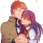 1boy 1girl :d bangs blush brown_jacket closed_eyes collarbone commentary_request creat emiya_shirou fate/stay_night fate_(series) hair_ribbon happy highres holding_hands homurahara_academy_uniform interlocked_fingers jacket long_hair long_sleeves lower_teeth matou_sakura neck_ribbon open_mouth purple_hair red_ribbon ribbon shirt short_hair smile teeth upper_body white_shirt
