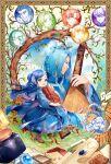 3girls 6+boys :d animal artist_name baby benno_(honzuki_no_gekokujou) bird blue_cape blue_dress blue_hair blue_legwear book boots border brown_footwear cape closed_mouth commentary_request day dress effa_(honzuki_no_gekokujou) eyebrows_visible_through_hair ferdinand_(honzuki_no_gekokujou) flower framed fran_(honzuki_no_gekokujou) gunther_(honzuki_no_gekokujou) hair_bun hair_flower hair_ornament highres holding holding_book holding_instrument honzuki_no_gekokujou instrument kamil_(honzuki_no_gekokujou) kaze-hime long_hair long_sleeves lutz_(honzuki_no_gekokujou) maine_(honzuki_no_gekokujou) medium_hair multiple_boys multiple_girls open_mouth smile tree tuuli_(honzuki_no_gekokujou) walking watermark web_address yellow_eyes