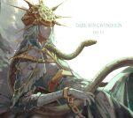 1boy chain covered_eyes dark_souls dark_sun_gwyndolin eiu-xy helmet helmet_over_eyes highres lips otoko_no_ko snake souls_(from_software) white_hair