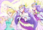 1girl blonde_hair blue_eyes blush breasts circlet collarbone cure_earth dress earrings elbow_gloves feathers fuurin_asumi gloves green_shirt healin'_good_precure highres jewelry large_breasts long_hair magical_girl multiple_persona open_mouth precure purple_dress purple_hair shirt shiruppo smile tiara upper_body very_long_hair violet_eyes white_gloves wings