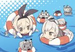 >_< 2girls :3 :d amatsukaze_(kantai_collection) anchor_hair_ornament black_hairband blade_(galaxist) blonde_hair blush blush_stickers brown_eyes chibi commentary_request elbow_gloves gloves hair_ornament hair_tubes hairband halftone halftone_background innertube kantai_collection lifebuoy long_hair multiple_girls o_o open_mouth partially_submerged rensouhou-chan rensouhou-kun shimakaze_(kantai_collection) silver_hair smile turret two_side_up upside-down water white_gloves |_|