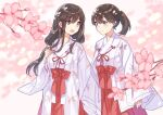 2girls akagi_(kantai_collection) brown_eyes brown_hair cherry_blossoms commentary_request commission cowboy_shot eye_contact hakama japanese_clothes kaga_(kantai_collection) kantai_collection kimono long_hair looking_at_another miko mitsuyo_(mituyo324) multiple_girls red_hakama side_ponytail straight_hair white_kimono