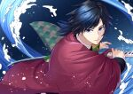 1boy bangs black_hair black_jacket blue_background blue_eyes closed_mouth commentary_request eyebrows_visible_through_hair fighting_stance haori holding holding_sword holding_weapon jacket japanese_clothes katana kimetsu_no_yaiba long_hair long_sleeves looking_at_viewer male_focus nayu_(mcpt8738) ponytail solo sword tomioka_giyuu tsurime uniform upper_body v-shaped_eyebrows water weapon