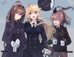 alternate_costume ass_grab black_shirt blonde_hair blue_eyes blue_jacket blush bomber_jacket breasts brown_eyes brown_hair brown_jacket brown_pants collared_shirt cup gloves hand_in_pocket himeyamato holding holding_cup iowa_(kantai_collection) jacket kantai_collection large_breasts long_hair long_sleeves military military_uniform one_side_up open_mouth pants ponytail saratoga_(kantai_collection) shirt sidelocks smokestack_hair_ornament snow star-shaped_pupils star_(symbol) symbol-shaped_pupils uniform very_long_hair white_gloves white_shirt yamato_(kantai_collection)