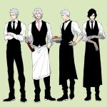 4boys apron arm_tattoo black_apron black_footwear black_hair black_neckwear black_pants black_vest bottle bow bowtie closed_eyes collared_shirt crossed_arms dante_(devil_may_cry) devil_may_cry devil_may_cry_5 dress_shirt facial_hair food frown full_body green_background grey_eyes hand_on_hip highres holding holding_bottle holding_plate long_sleeves looking_away male_focus multiple_boys necktie nero_(devil_may_cry) ogata_tomio pants pasta pink_neckwear plate profile prosthesis prosthetic_arm rolling_sleeves_up shirt shoes short_hair simple_background sleeves_rolled_up standing stubble tattoo v_(devil_may_cry) vergil vest waiter white_apron white_hair white_shirt wine_bottle