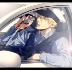 1boy bangs blonde_hair blue_shirt bulletproof_vest buttons car collared_shirt commentary_request dress_shirt earrings from_side ground_vehicle hair_between_eyes hand_up hat holding jewelry kise_ryouta kuroko_no_basuke lens_flare letterboxed long_sleeves looking_to_the_side male_focus mashima_shima motor_vehicle open_mouth police police_car police_hat police_uniform policeman rear-view_mirror shirt short_hair solo teeth twitter_username uniform yellow_eyes