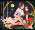 2girls a_summer's_end:_hong_kong_1986 bird black_hair branch breasts brown_eyes brown_hair china_dress chinese_clothes chinese_commentary chinese_text dress flower hand_on_another's_thigh high_heels highres lilaccu looking_at_another looking_at_viewer medium_breasts moon multiple_girls official_art parted_lips pink_flower red_flower second-party_source white_flower yuri