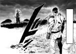 2boys absurdres blank_eyes commentary english_commentary floating_hair gloves gouki grass greyscale headband highres looking_at_viewer monochrome multiple_boys murata_yuusuke ponytail rock ryu_(street_fighter) sack standing street_fighter torn_clothes torn_sleeves traditional_media wind