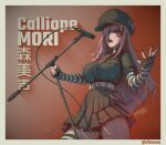 1girl artist_name black_gloves black_headwear black_nails black_shirt black_skirt breasts character_name collared_shirt english_commentary fingerless_gloves gloves hair_over_one_eye hat highres holding holding_microphone_stand hololive hololive_english large_breasts long_sleeves microphone_stand mini_necktie mori_calliope one_eye_covered open_hand open_mouth pink_eyes pink_hair shirt single_glove skirt solo striped_sleeves thigh-highs virtual_youtuber zhvo
