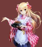 1girl apron breasts brown_background brown_eyes checkered checkered_kimono chopsticks cowboy_shot food frills grilled_eel hair_ribbon holding holding_tray japanese_clothes johnston_(kantai_collection) kantai_collection kimono light_brown_hair long_hair looking_at_viewer maid_apron medium_breasts official_art open_mouth ribbon scan smile tray two_side_up wa_maid white_apron wide_sleeves zeco