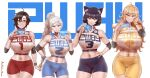 4girls absurdres aestheticc-meme ahoge animal_ears bangs bare_shoulders bike_shorts black_hair blake_belladonna blonde_hair blue_eyes breasts cat_ears closed_mouth elbow_gloves english_text eyebrows_visible_through_hair gloves gradient_hair grey_eyes hand_on_own_face high_ponytail highres holding holding_phone huge_filesize large_breasts long_hair looking_at_viewer medium_breasts midriff multicolored_hair multiple_girls navel open_mouth phone phone_screen ponytail redhead ruby_rose rwby short_hair shorts simple_background smile sports_bra sportswear sweatband teeth violet_eyes wavy_hair weiss_schnee white_hair yang_xiao_long yellow_eyes