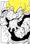 1boy absurdres blonde_hair dougi dragon_ball dragon_ball_z greyscale highres male_focus monochrome muscle niwarizumu powering_up sleeveless solo son_goku spiky_hair spot_color super_saiyan torn_clothes upper_body yellow_eyes