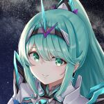 1girl bangs chest_jewel closed_mouth eyebrows_visible_through_hair green_eyes green_hair highres light_blush long_ponytail looking_at_viewer night night_sky pneuma_(xenoblade) ponytail portrait sarasadou_dan sky smile solo star_(sky) starry_sky swept_bangs tiara xenoblade_chronicles_(series) xenoblade_chronicles_2