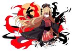 1girl blonde_hair blood chinese_clothes claws closed_mouth flower gla glowing glowing_eyes hat highres junko_(touhou) lily_(flower) long_hair long_sleeves moon multiple_tails pom_pom_(clothes) rabbit red_eyes silhouette solo split_theme tabard tail tears touhou very_long_hair white_flower wide_sleeves
