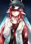 1girl arknights artist_name black_headwear cabbie_hat collarbone commentary_request dated hat highres horns horns_through_headwear jacket long_hair long_sleeves looking_at_viewer necktie open_clothes open_jacket open_mouth pointy_ears red_eyes red_neckwear redhead sakusyo signature solo upper_body very_long_hair vigna_(arknights) white_jacket