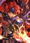 1boy armor blue_eyes cape fiery_background fingerless_gloves fire fire_emblem fire_emblem:_the_binding_blade gloves hankuri headband hungry_clicker looking_at_viewer red_gloves redhead roy_(fire_emblem) serious short_hair solo sword traditional_media weapon