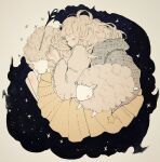 1girl ballpoint_pen_(medium) long_hair original sheep skirt sleeping star_(sky) tofuvi traditional_media yellow_skirt