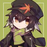 1girl alternate_costume arknights bangs baseball_cap black_headwear black_jacket blush brown_hair closed_mouth commentary_request expressionless eyebrows_visible_through_hair gloves green_background grey_hair hair_between_eyes hat jacket leaf leaf_on_head long_sleeves looking_at_viewer medium_hair multicolored_hair open_clothes open_jacket orange_eyes plume_(arknights) sasa_onigiri shawl solo two-tone_hair upper_body