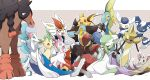:d ;d absurdres aegislash bisharp blue_eyes brown_eyes cinderace closed_eyes closed_mouth commentary_request expressionless eye_contact fang gardevoir gen_1_pokemon gen_3_pokemon gen_4_pokemon gen_5_pokemon gen_6_pokemon gen_7_pokemon gen_8_pokemon green_eyes grey_eyes hand_up happy highres inteleon kisa_(kisa-kisa5900) leafeon looking_at_another looking_down luxray meowstic meowstic_(female) meowstic_(male) minccino mudsdale one_eye_closed open_mouth outline pokemon pokemon_(creature) primarina raichu shiny sitting skin_fang smile sylveon |d